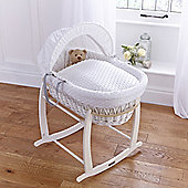 Clair de lune Dimple White Wicker Moses Basket - White