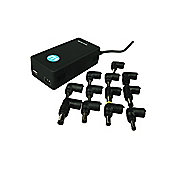 12V Auto-Voltage Car/Air Laptop Adapter with 1A USB Socket + 12 Charging Tips