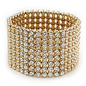 Polished Gold Plated Bead Swarovski Crystal Flex Bracelet - 17cm Length