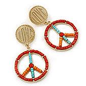 Multicoloured Bead 'Peace & Love' Drop Earrings In Gold Plating - 6cm Length