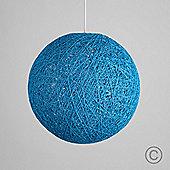Bjorn 23cm Rattan Ball Ceiling Light Pendant Shade in Light Blue
