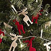 24 Red & White Felt Reindeer Indoor LED Fairy Lights