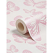 Butterfly White and Pink Wallpaper 10m