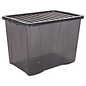 Plastic Storage Box with Lid - 80L - Grey
