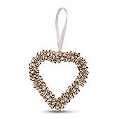 Silver Cluster Bell Heart Shaped Hanging Decorations - Medium
