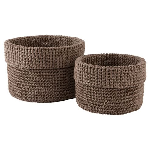 Tesco knitted storage basket natural set 2
