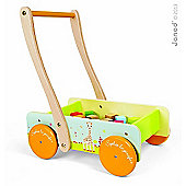 Sophie The Giraffe Wooden Trolley with 20 Blocks Baby Walker by Janod 12m+