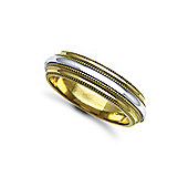 Jewelco London Bespoke Hand-Made 9 carat Yellow & White Gold 6mm Mill Grain Wedding / Commitment Ring,
