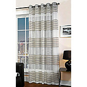 Bologna Chenille Detail Eyelet Voile Curtain Panel - Brown