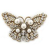 Vintage Pearl, Swarovski Crystal 'Butterfly' Brooch In Antique Gold Metal - 65mm Width