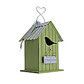 Wooden Vintage Green Bird House/Nesting Box with 'Beware of the Birds Inside' Plaque