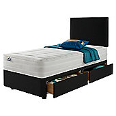 Silentnight Mirapocket 1200 Ortho Memory 2 Drawer Single Divan Charcoal with Headboard