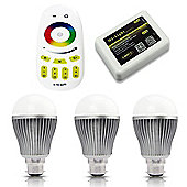 MiLight B22 9W RGB Colour Smart Light Starter Kit with Bridge, Remote and 3 Bulbs