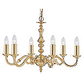 Spanish Styled Pendant Light with Cast Polished Brass Arms