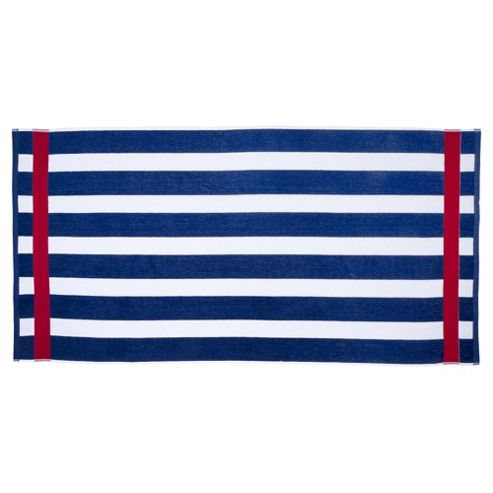 Tesco Wide Navy Stripe Beach Towel