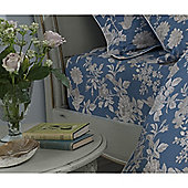 Kew Gardens Tea Rose Teal Fitted Sheet - Double