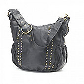 OiOi Hobo Bag (Black Studded Faux Leather)