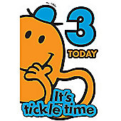 Mr Tickle Birthday Card - 3 Years