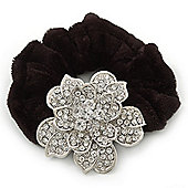Large Sculptured Rhodium Plated Swarovski Crystal Flower Pony Tail Black Hair Scrunchie - Clear