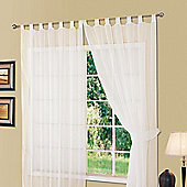 "Dreamscene Tab Top Voile Net Curtain Panel, White - 59"" x 54"" (150x137cm)"