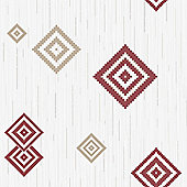 Muriva Eton Motif Wallpaper - Red