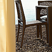 Varaschin Altea Dining Chair by Varaschin R and D (Set of 2) - Dark Brown - Panama Azzurro