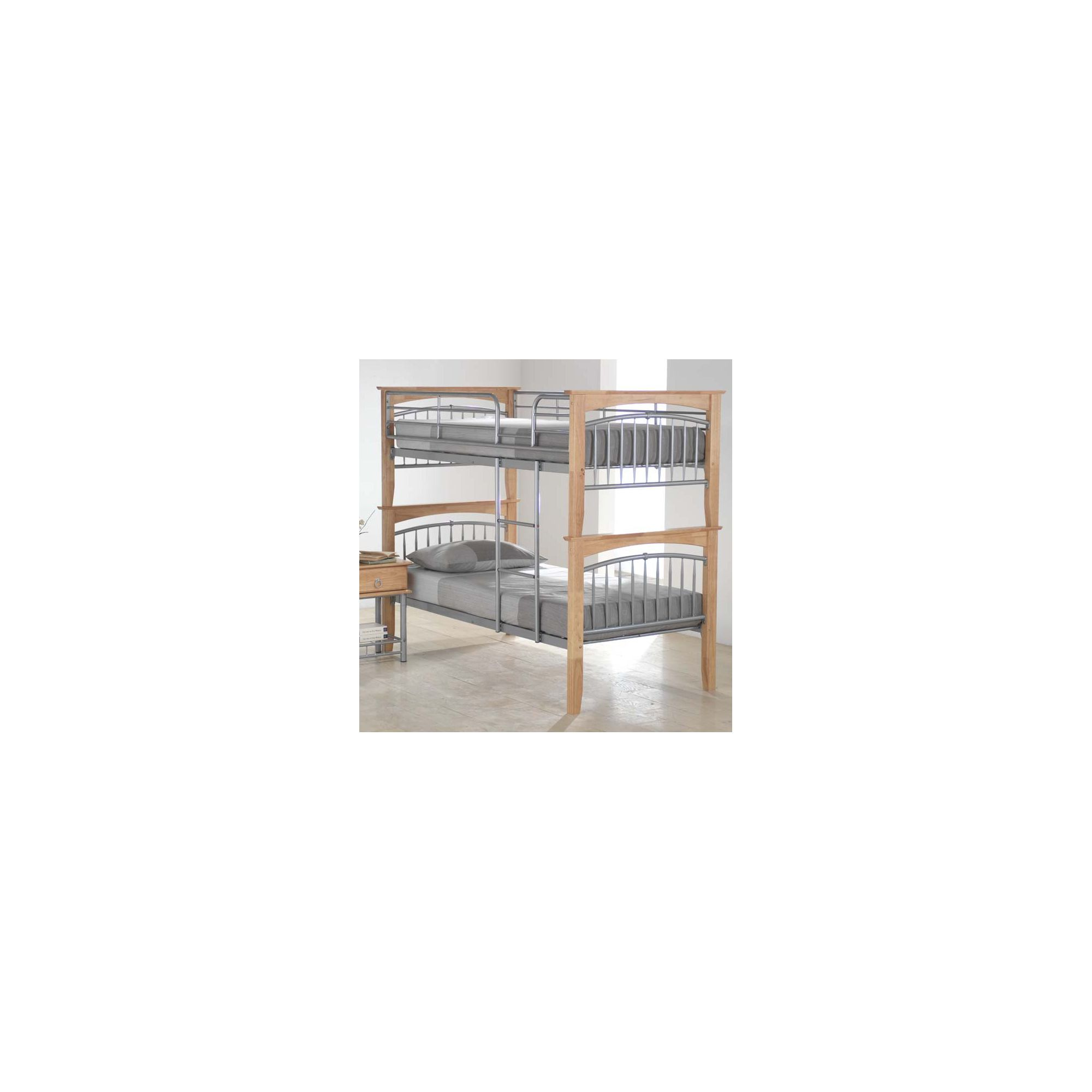 Ideal Furniture Euro Bunk Bed - Beech and Silver at Tesco Direct