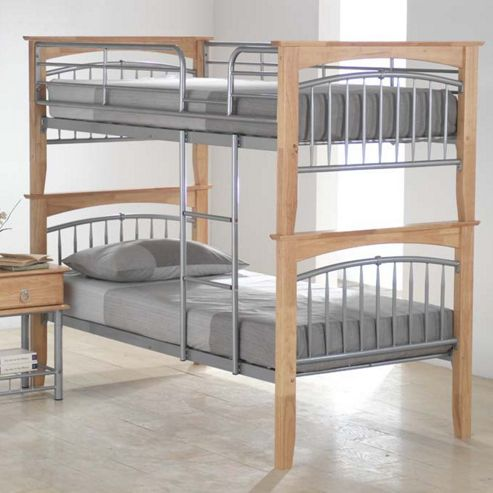 Ideal Furniture Euro Bunk Bed - Beech and Silver