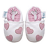 Dotty Fish Soft Leather Baby Shoe - White and Pale Pink Hearts - White
