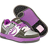 Heelys Flow Charcoal/Silver/Purple Kids Heely Shoe - Purple