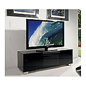 Triskom Stainless Steel / Glass TV Stand for LCD / Plasmas - Black Glass