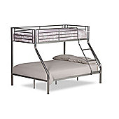 Happy Beds Demi Silver Metal Triple Sleeper Bunk Bed 2 Memory Foam Mattresses