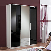 Amos Mann furniture Milano 3 Door 2 Drawer Wardrobe - Black and White