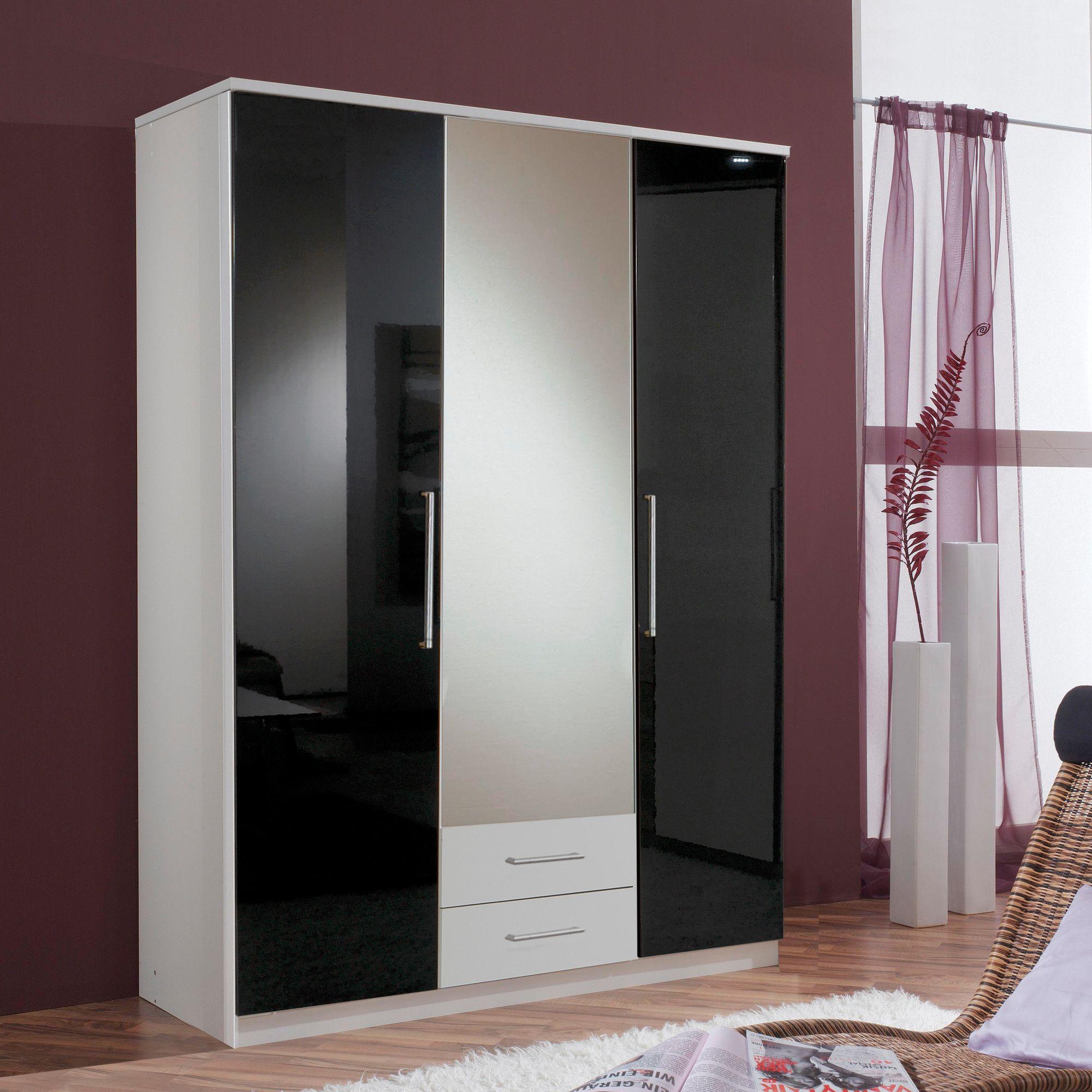 Amos Mann furniture Milano 3 Door 2 Drawer Wardrobe - Black and White at Tesco Direct