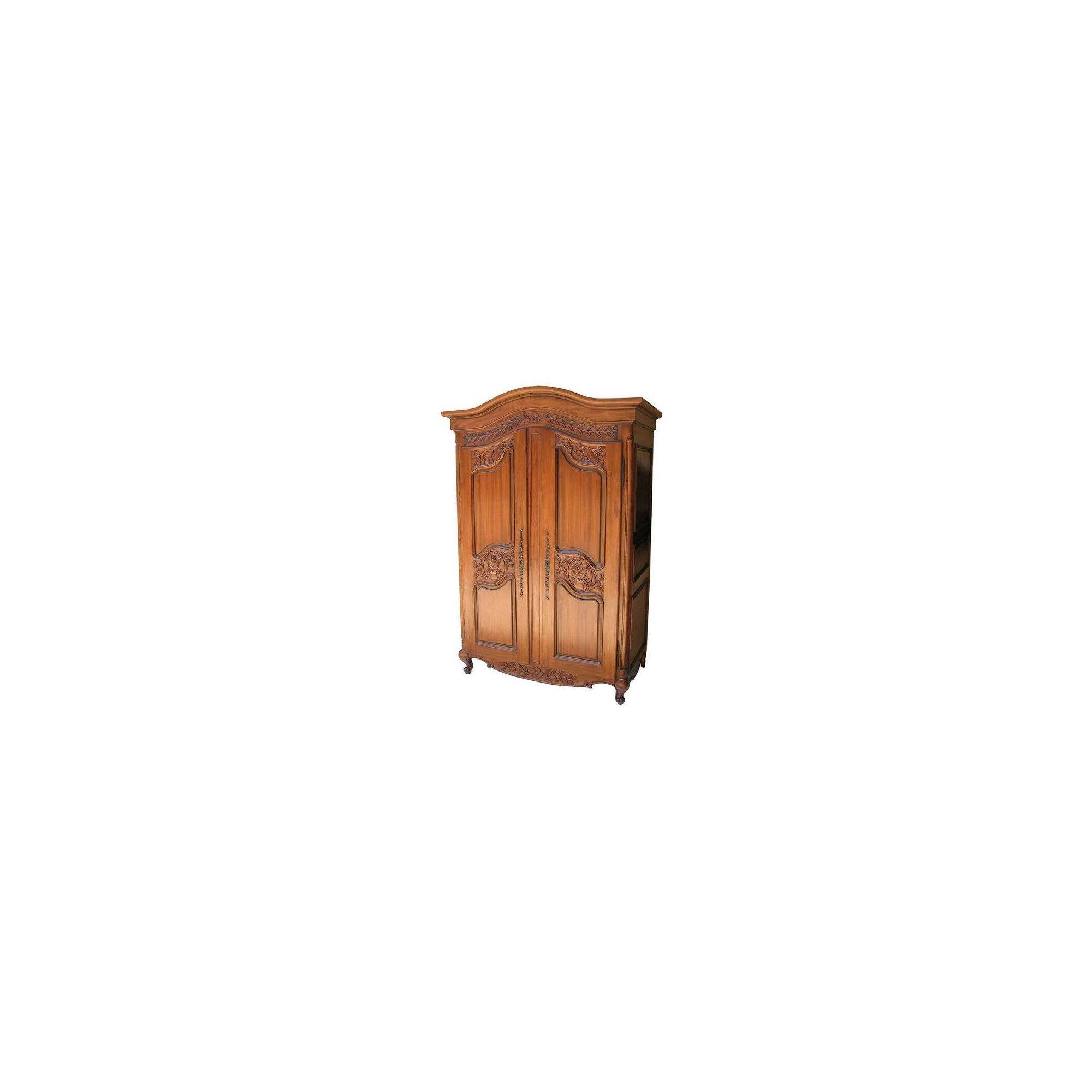 Lock stock and barrel Mahogany Arch Top Armoire with Carved Doors in Mahogany - Wax at Tesco Direct