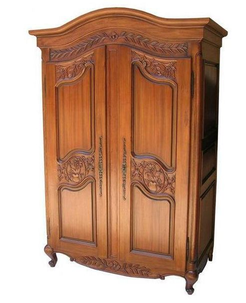 Lock stock and barrel Mahogany Arch Top Armoire Wardrobe with Carved Doors - Wax