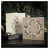 Tesco Gold Leaf Tree And Wreath Christmas Cards, 10 Pack