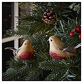 Robin Christmas Tree Decorations, 2 pack