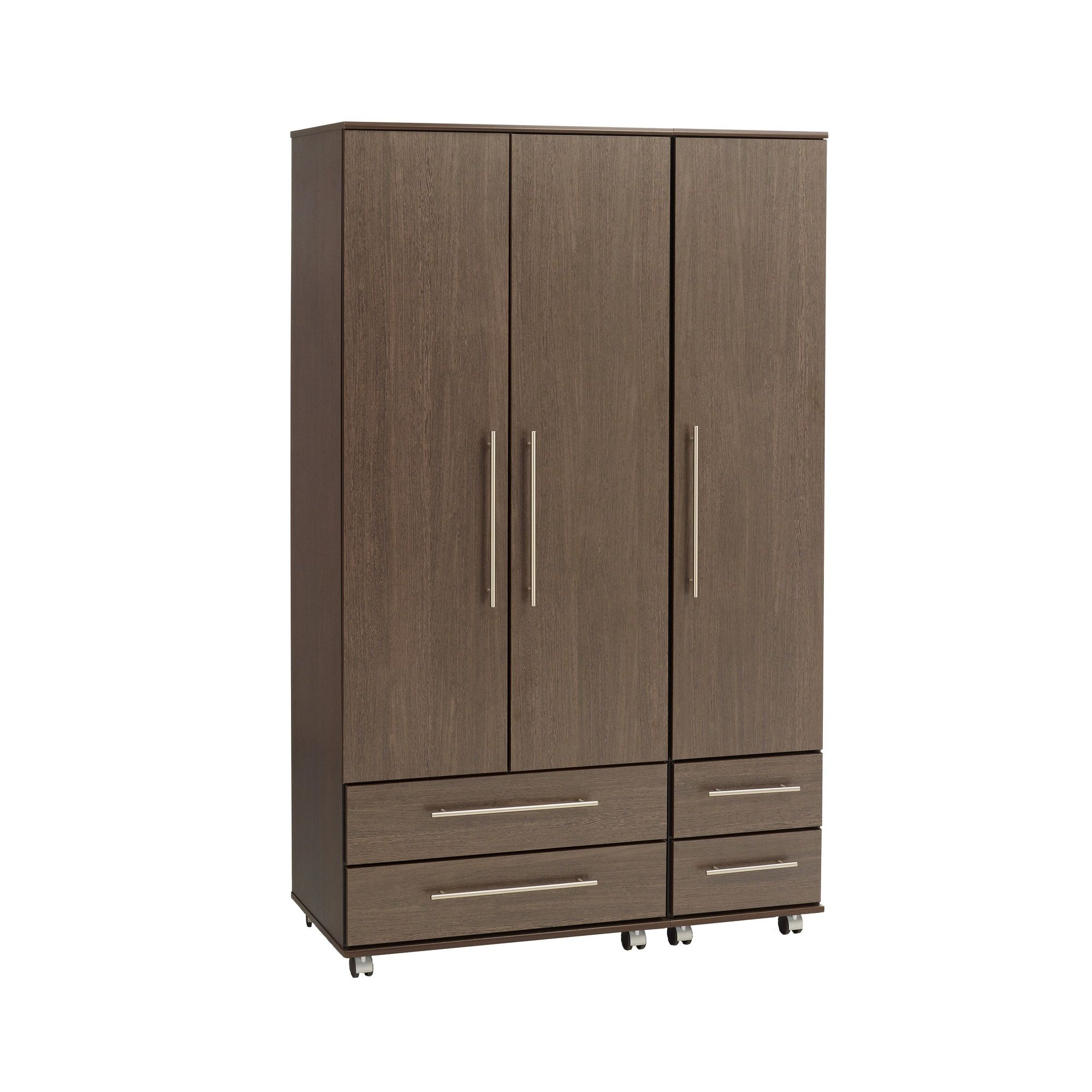 Ideal Furniture New York Triple Wardrobe with Four Drawers - Gloss Black at Tesco Direct