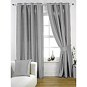 KLiving Ravello Faux Silk Eyelet Lined Curtain 90x72 Inches Silver