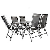 Bentley Garden 7 Piece Textilene Dining Furniture Set Table and Chairs - Grey
