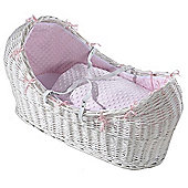 Isabella Alicia White Izzy-Pod Moses Basket (Dimple Pink)