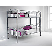 Happy Beds Capri 3ft Silver Metal Bunk Bed 2x Orthopaedic Mattress
