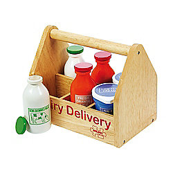 Bigjigs Toys BJ351 Wooden Play Food Dairy Delivery Set