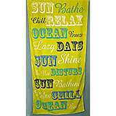 Country Club Microfibre Beach Towel, Green with Word Design