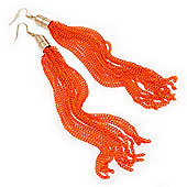 Long Neon Orange Chain Tassel Earrings In Gold Plating - 17cm Length