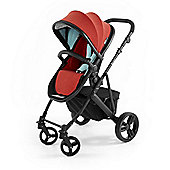 Tutti Bambini Riviera Plus 3 in 1 Black Pram & Pushchair - Coral Red / Aqua