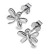 Children's Zoe Silver Diamond Dragonfly Earrings