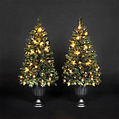 Pair of 4ft Christmas Porch Trees with 50 Warm White LEDs