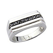 Sterling Silver and Black Cubic Zirconia Gents Dress Ring